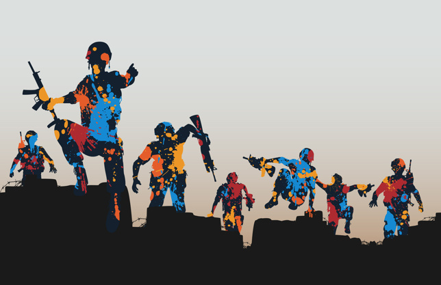 Editable vector illustration of paint splattered armed soldiers