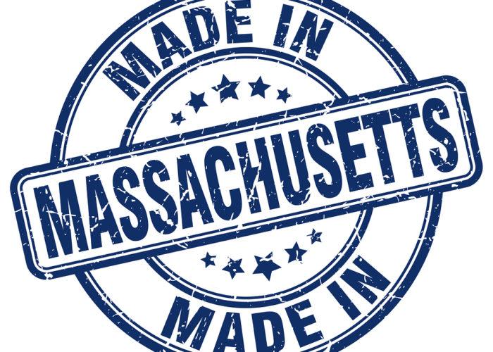 Made In Massachusetts Blue Round Vintage Stamp.massachusetts Sta