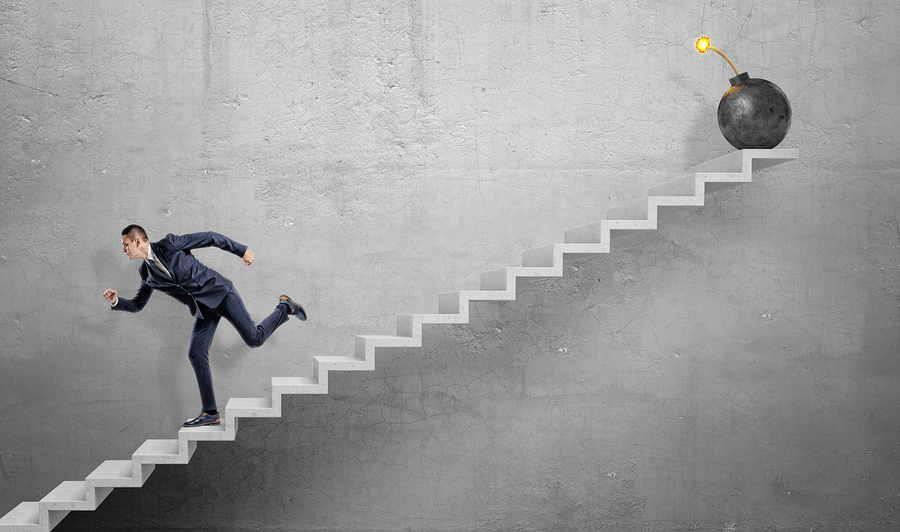 Skilled Nursing Business Man Dynamite Stairs